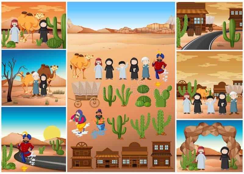 Scene del deserto con la gente e le costruzioni illustrazione di stock
