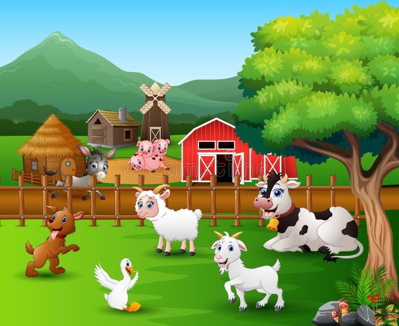 Scene dell'azienda agricola con differenti animali nel cortile royalty illustrazione gratis