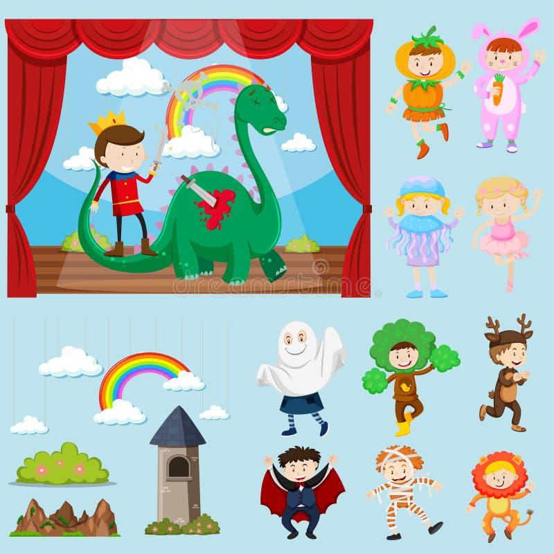 Scene della fase con differenti caratteri illustrazione di stock