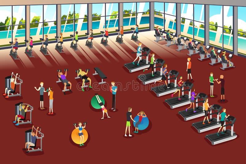 Scene dentro un centro di forma fisica royalty illustrazione gratis