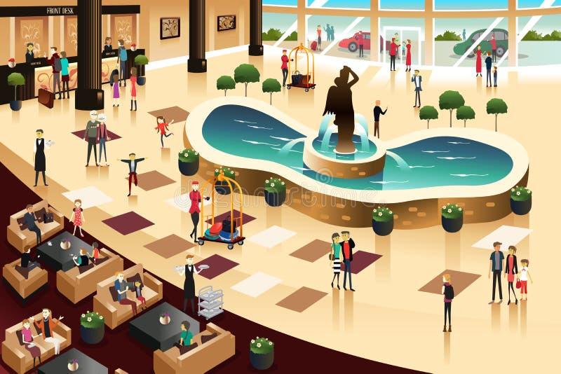 Scene dentro un ingresso dell'hotel illustrazione vettoriale