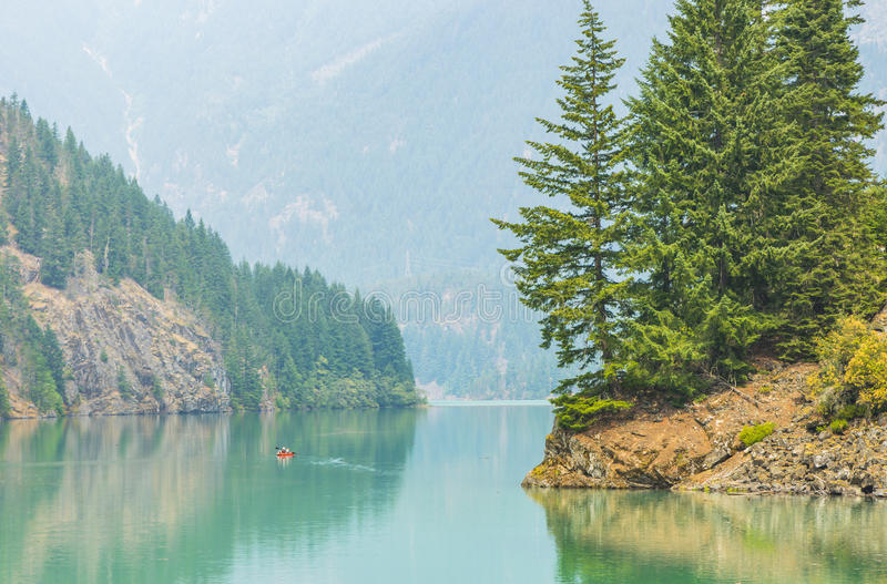 Scene in Diablo lake water landscape on a day in North Cascade national park,Wa,Usa stock photos