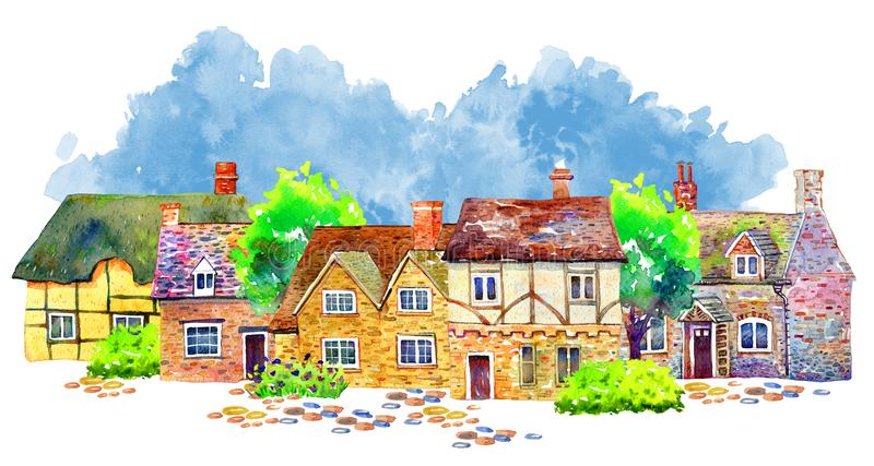 Scene with different village houses, trees and plants. Watercolor old stone Europe buildings stock illustration