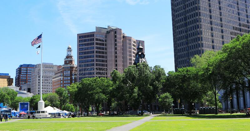 Scene of downtown New Haven, Connecticut, United States. A Scene of downtown New Haven, Connecticut, United States stock photos