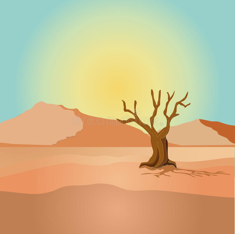 Scene with dried tree in desert field illustration. Illustration of a view of a desert with dried tree and mountainsn royalty free illustration
