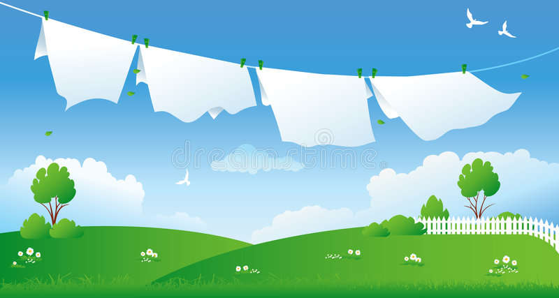 Scene with drying laundry royalty free illustration