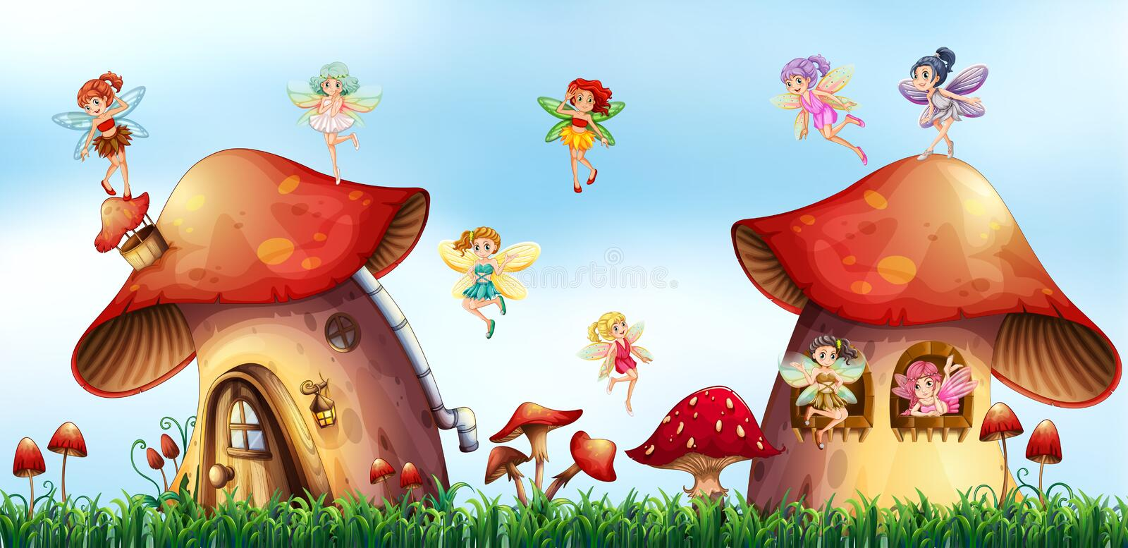Scene with fairies flying around mushroom houses. Illustration royalty free illustration