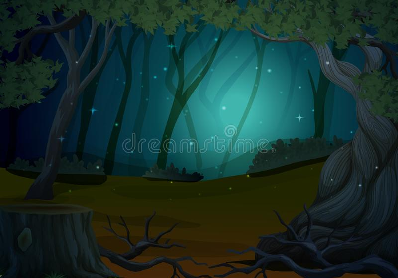 Scene with fireflies in forest at night stock illustration