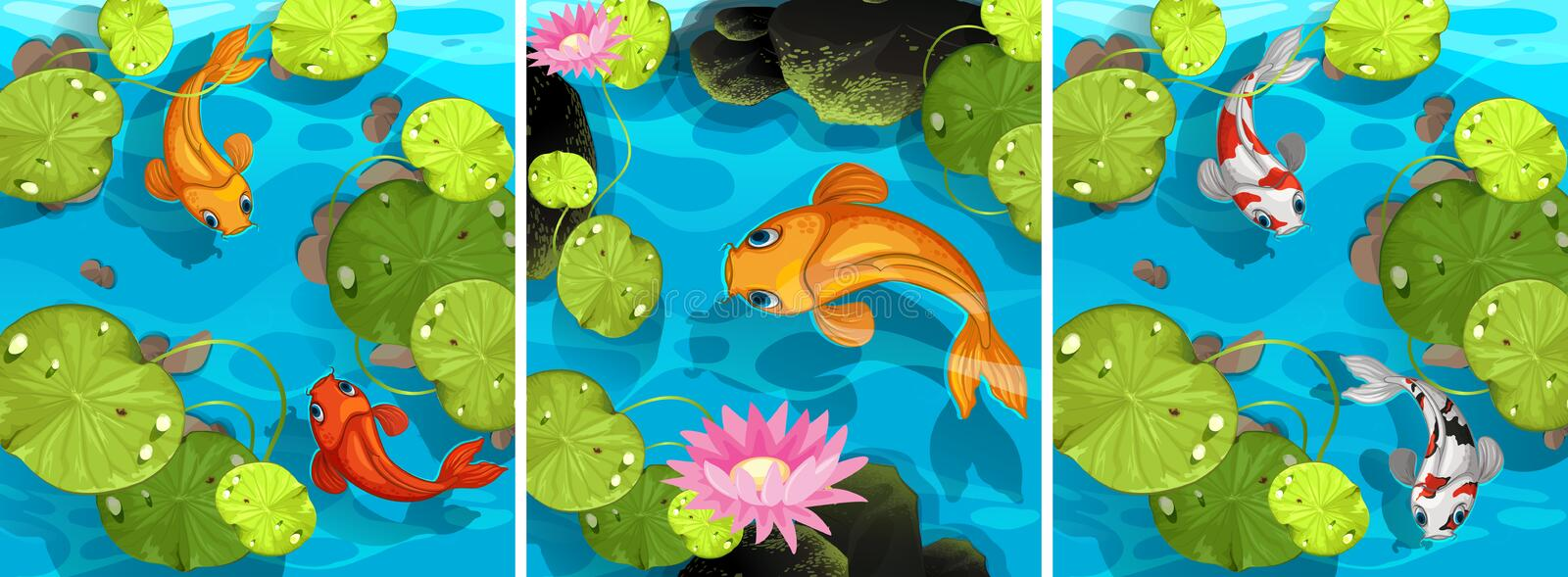 Scene with fish swimming in the pond. Illustration vector illustration