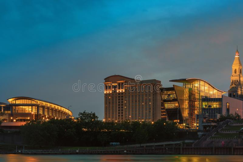 Hartford connecticut at dusk beautiful cityscape and sunset. Scene from founders bridge east hartford connecticut leading to downtown evening sunset colourful royalty free stock photos