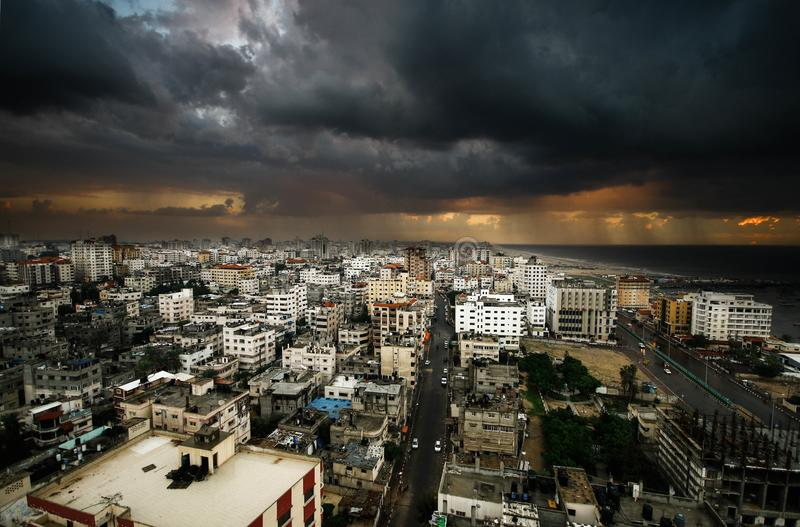 Gaza City from on high is too high. Scene Gaza City from rising too high in a day filled with clouds royalty free stock photos