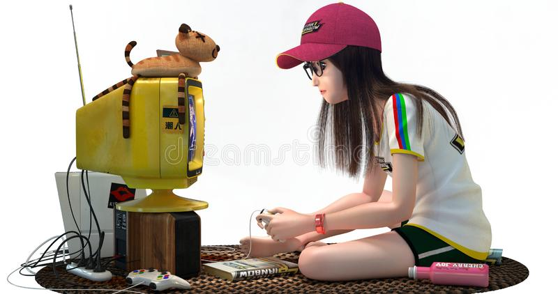 Scene with a geek girl playing video games. A geek girl playing video games stock illustration