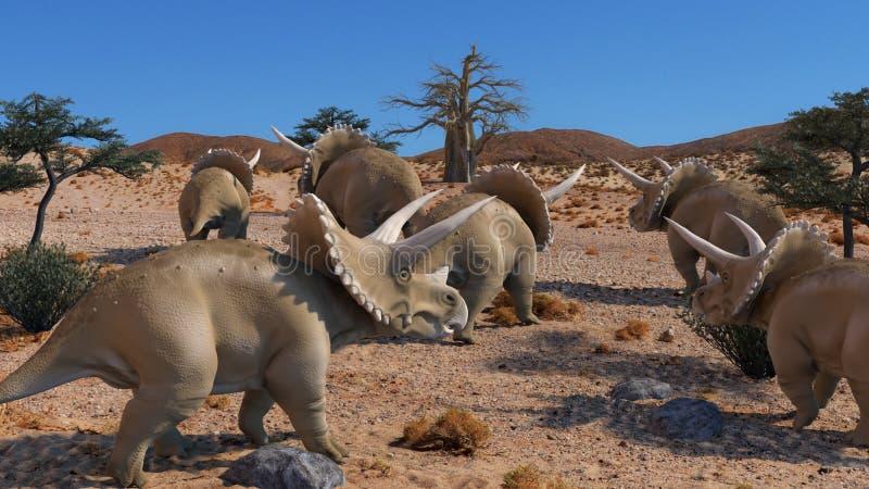 Triceratops 3D rendering. Scene of the giant dinosaur destroy the park. 3D Render Photo vector illustration