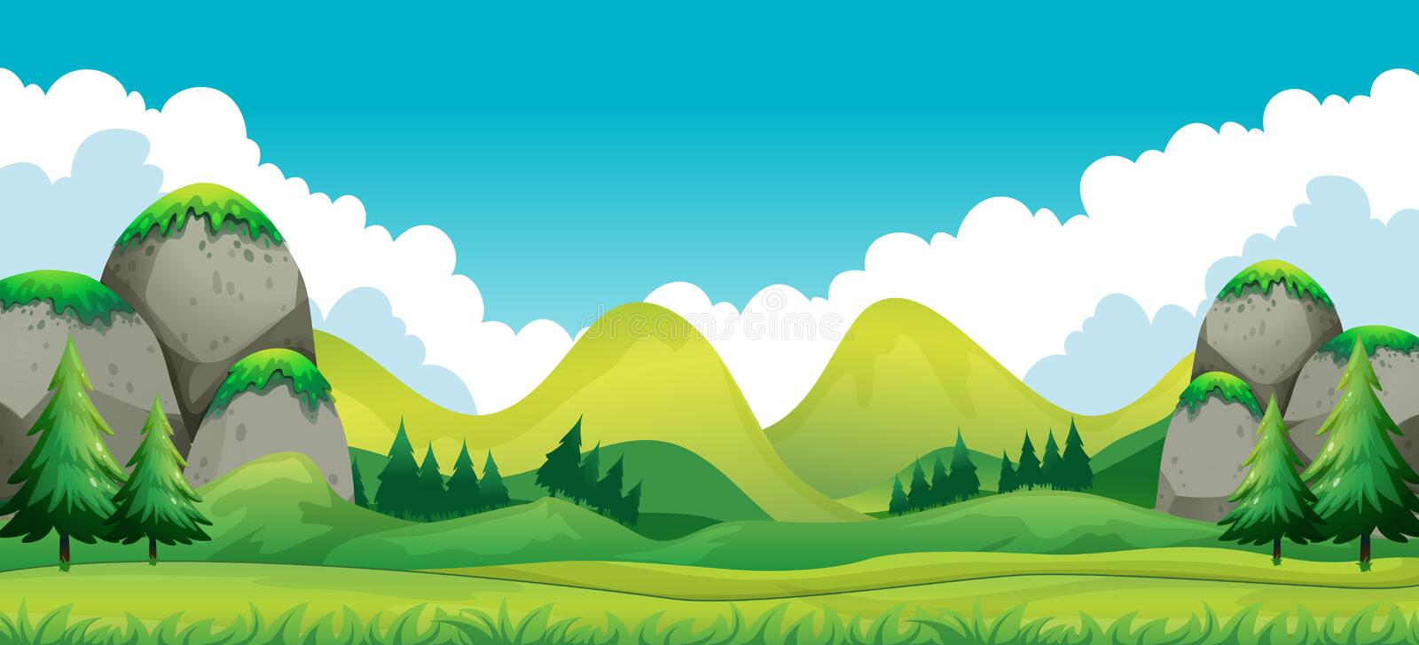 Scene of green field with mountains background stock illustration