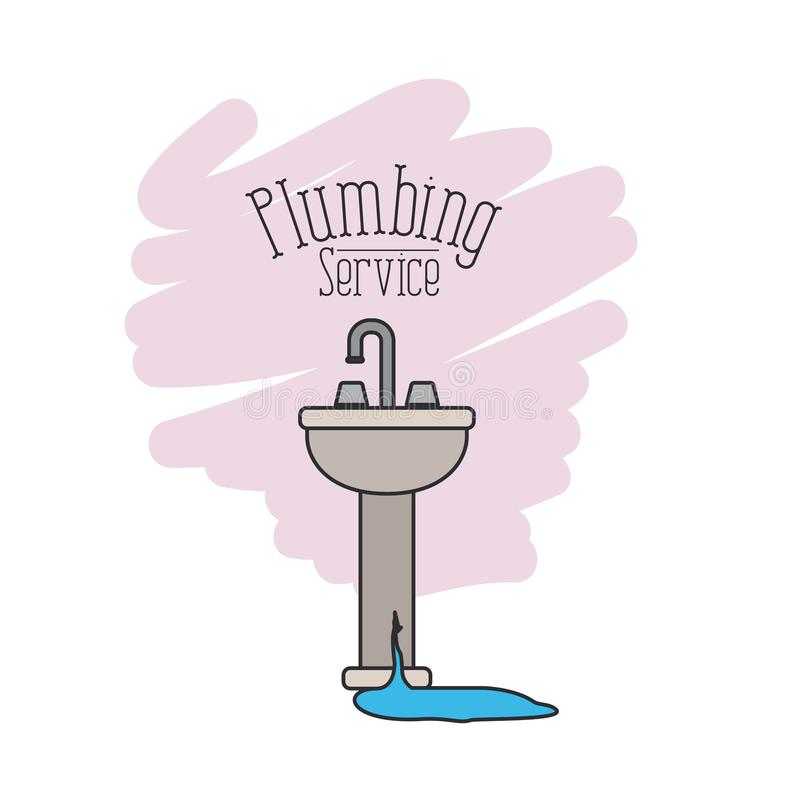 Scene of handwash bathroom with dripping pipes flooded plumbing service stock illustration