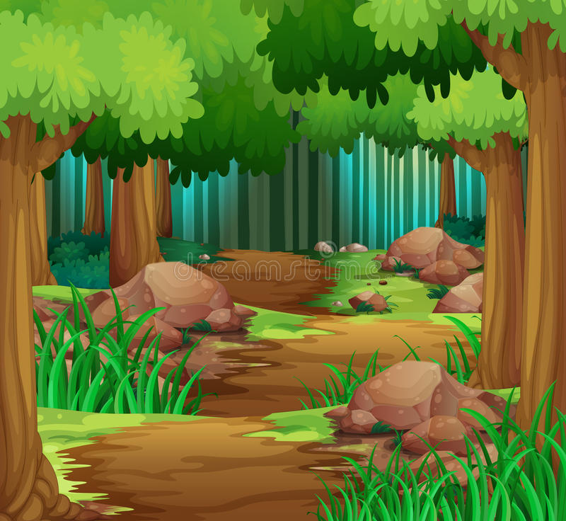 Scene with hiking track in the forest stock illustration