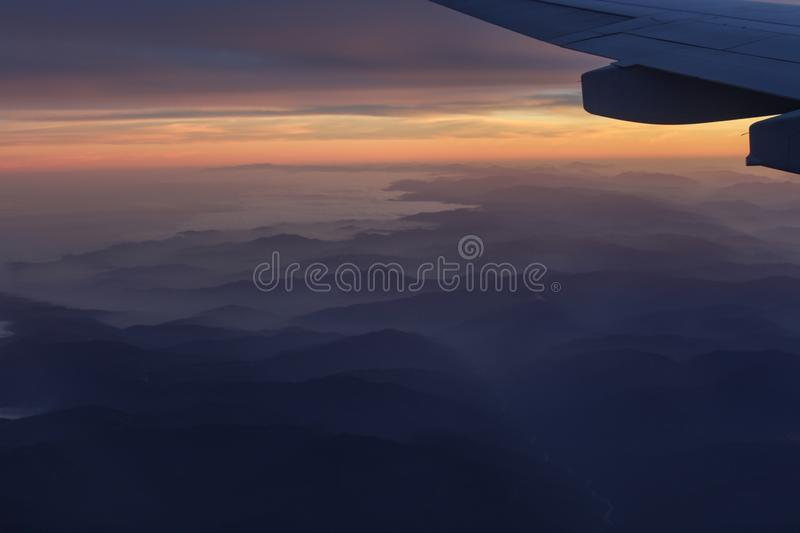 Scene of hills from plane china royalty free stock photo