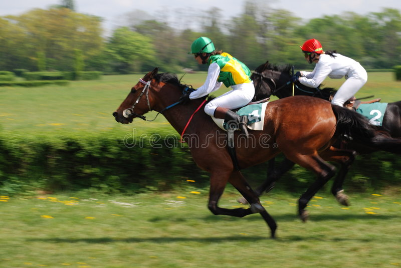 A scene of a horse race stock photo
