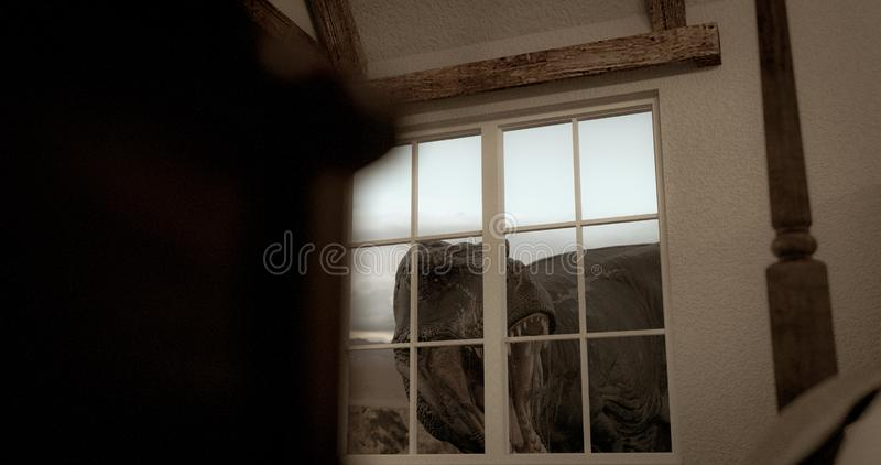 Huge dinosaur watching through the windows. royalty free illustration