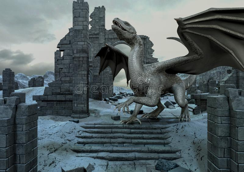 A scene with a huge dragon in a frozen fantasy castle. royalty free illustration