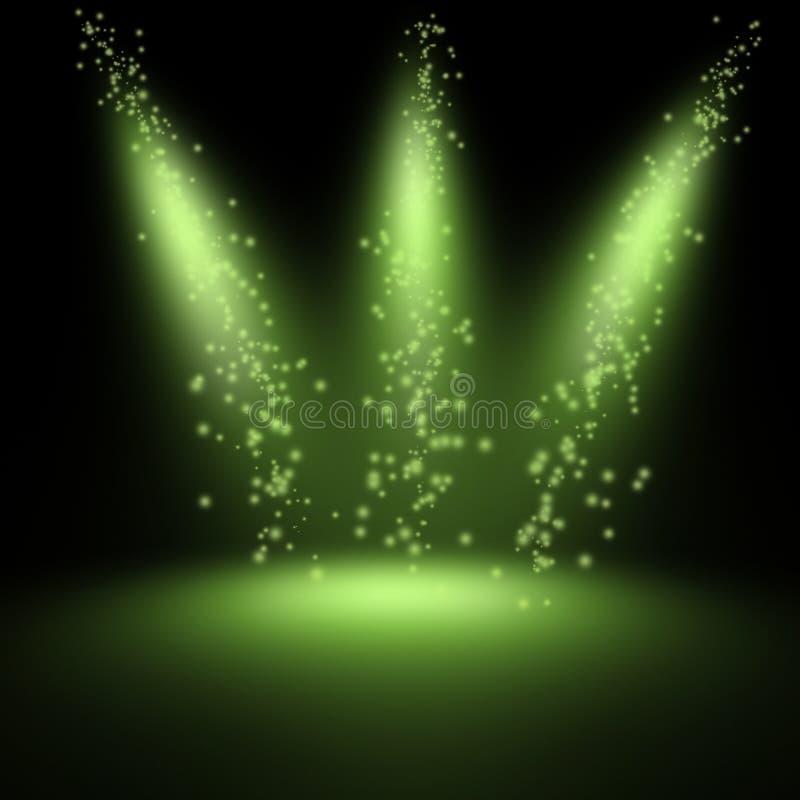 Scene illuminated by a spotlight. Scene illuminated by a green spotlight