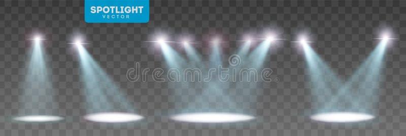 Scene illumination big collection, transparent effects. Bright lighting with spotlights. Vector Illustration stock illustration