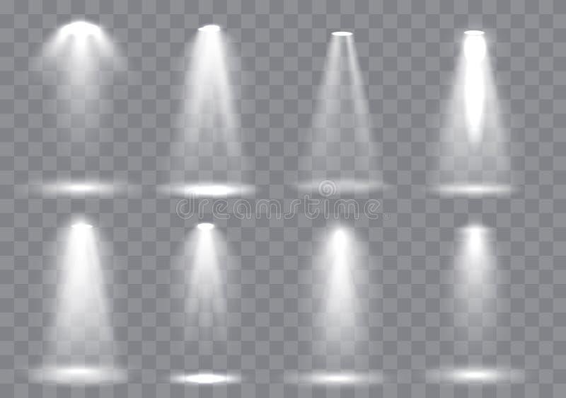 Scene illumination collection, Glowing transparent Studio light effects. Bright lighting with spotlights. Vector Illustration royalty free illustration