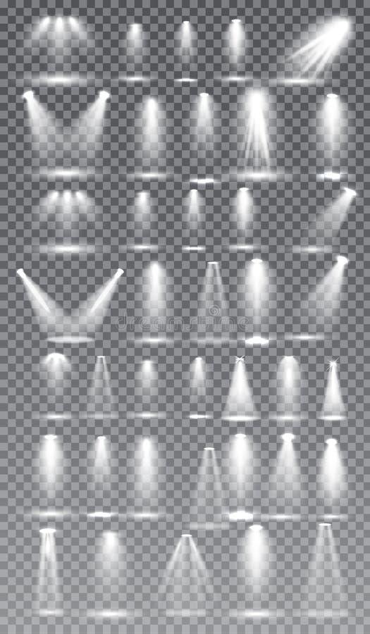 Scene illumination collection, Glowing transparent Studio light effects. Bright lighting with spotlights. Vector Illustration stock illustration