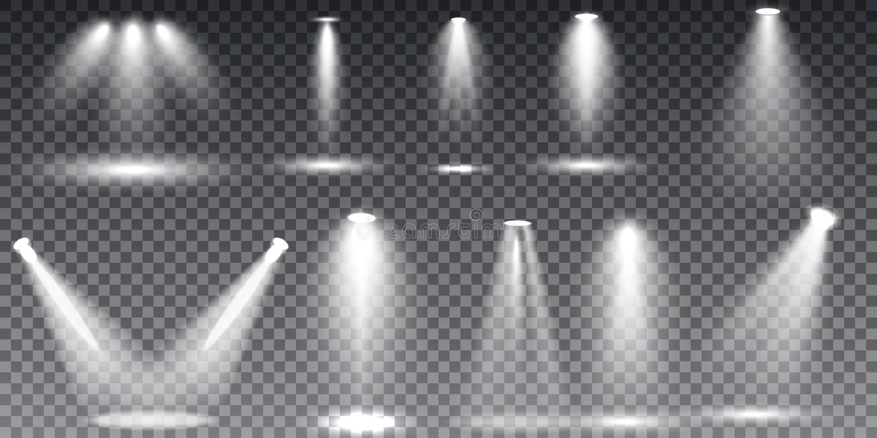 Scene illumination collection, transparent effects. Bright lighting with spotlights stock illustration