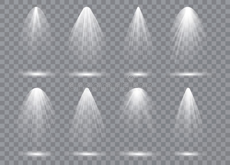 Scene illumination collection, transparent effects. Bright lighting with spotlights. royalty free illustration