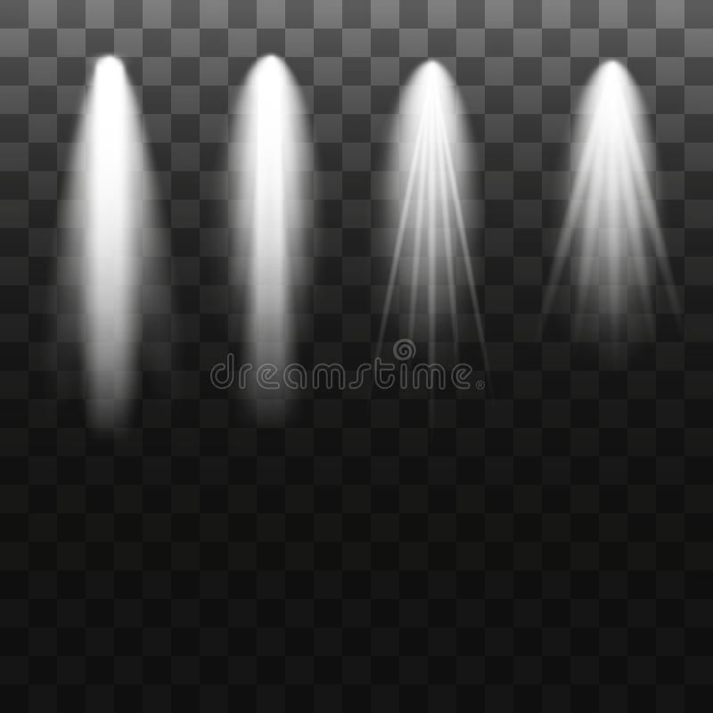 Scene illumination collection, transparent effects. Bright lighting with spotlights. Vector illustration vector illustration