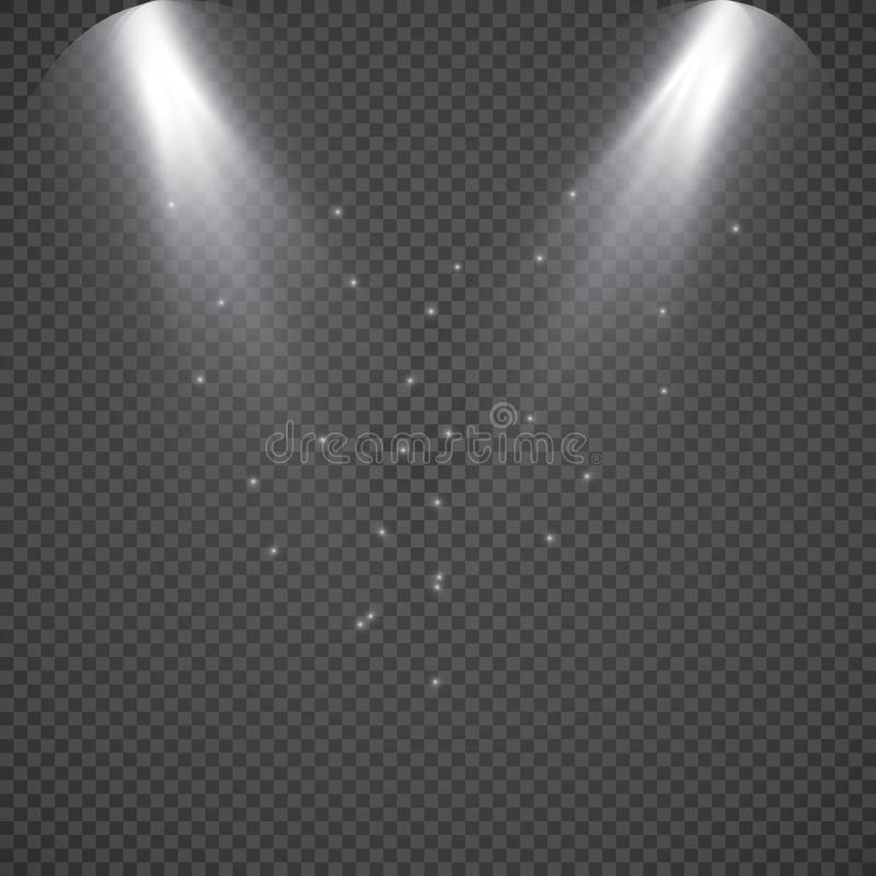 Scene illumination collection, transparent effects. Bright lighting with spotlights. Vector spotlight. Light effect stock illustration