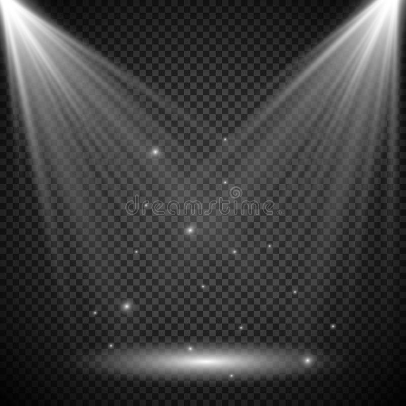 Scene illumination collection, transparent effects. Bright lighting with spotlights. Vector spotlight. Light effect royalty free illustration