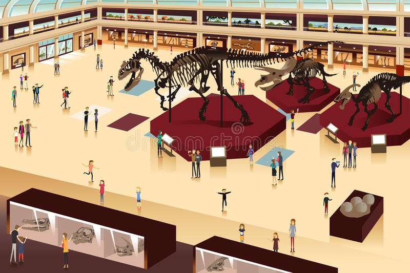Scene Inside a Natural History Museum stock illustration