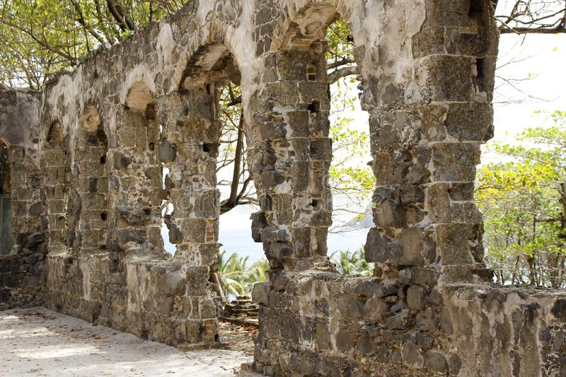 Pigeon Island on St Lucia in the Caribbean - Military Fort Ruins stock photo