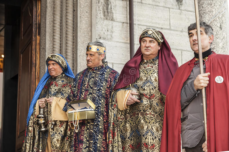 Scene of Jesus life. Epiphany, the three kings carrying their gifts royalty free stock photo