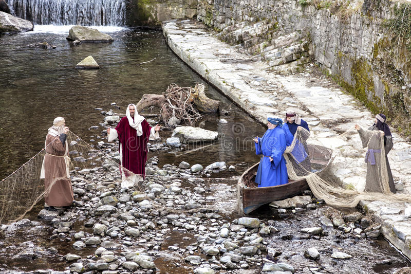 Scene of Jesus life. The Miraculous Catch of Fish royalty free stock photo