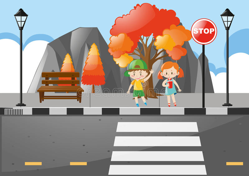 Scene with kids crossing street royalty free illustration