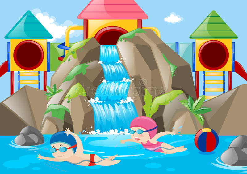 Scene with kids swimming in the water park. Illustration stock illustration