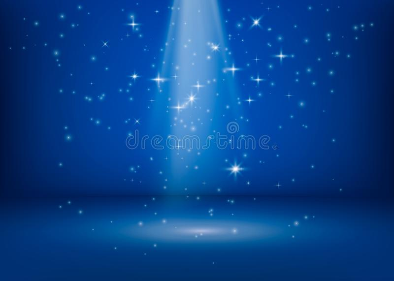The scene is lit by a searchlight. Brilliant shimmering lights. Magical miracle shiny spot. Glitter stars background. Vector. Illustration royalty free illustration