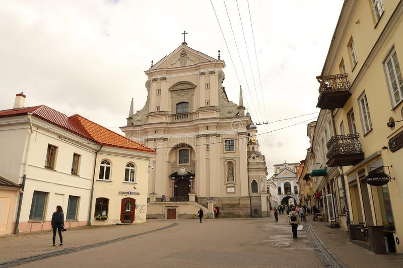 LITHUANIA, VILNIUS - JULY 03, 2018: Church of St. Theresa in Vilnius. Scene in Lithuania on a day in July 2018 royalty free stock image