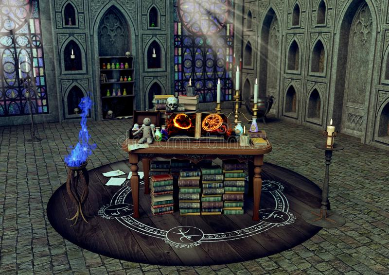 A magical altar with candles, books, voodoo dolls in a witchcraft temple. royalty free illustration