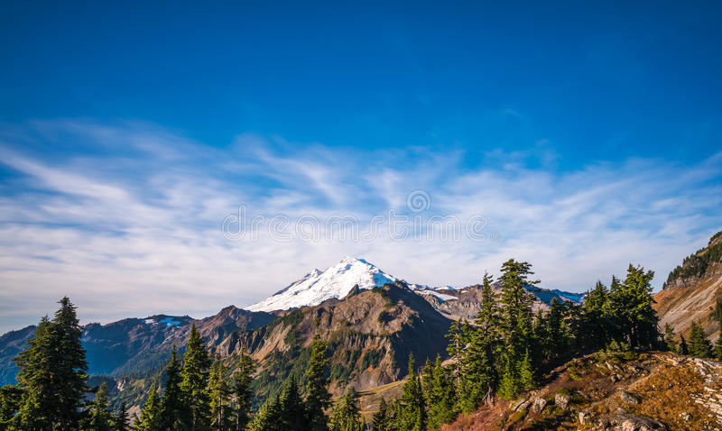 Scene of mt baker from Artist point hiking area.  stock photos