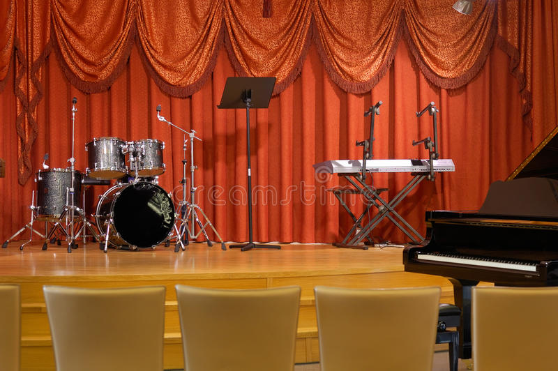 Scene With Musical Instruments. Royalty Free Stock Photos