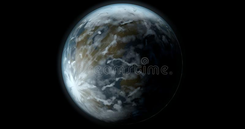 A scene with a mysterious fantasy planet in a black background. stock illustration