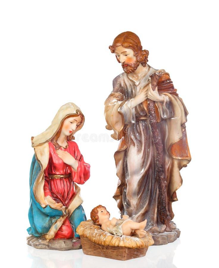 Scene of the nativity: Mary, Joseph and the Baby Jesus stock photo
