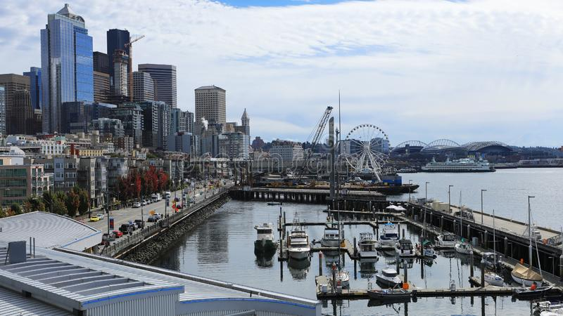Scene near Seattle, Washington harbor. A Scene near Seattle, Washington harbor stock images