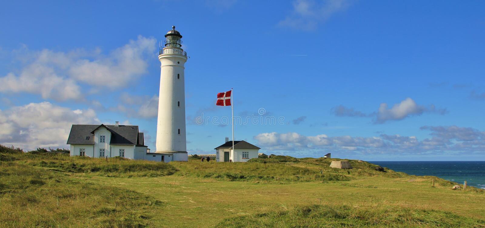 Beautiful old lighthouse in Hirtshals, Denmark. Scene in north Jylland. Beautiful old lighthouse in Hirtshals, Denmark royalty free stock photo
