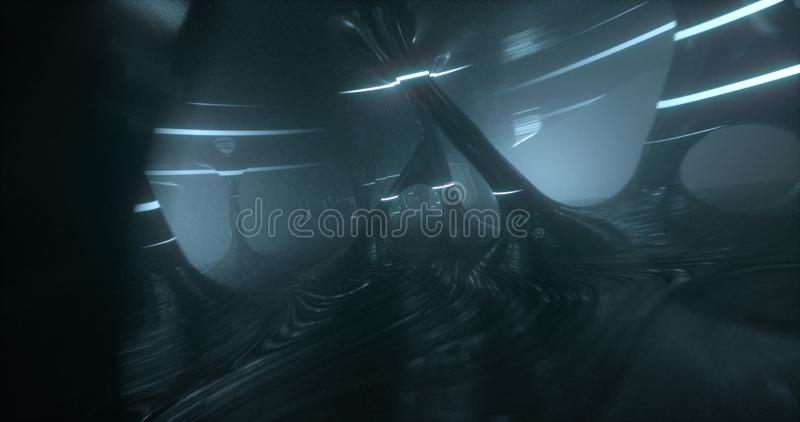 A scene of an odd alien cave, with mist and neon white lights. vector illustration