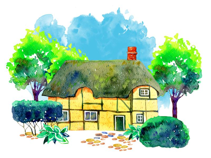 Scene with old stone Europe village house, trees, bushes and plants. Hand drawn watercolor illustration with blue background royalty free illustration